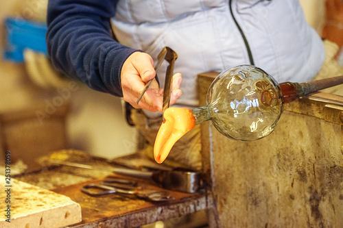 Canvas Print The processing of Murano glass, Venice, Veneto, Italy