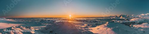 Fotografie, Obraz Bright colorful sunset panorama view in Antarctica
