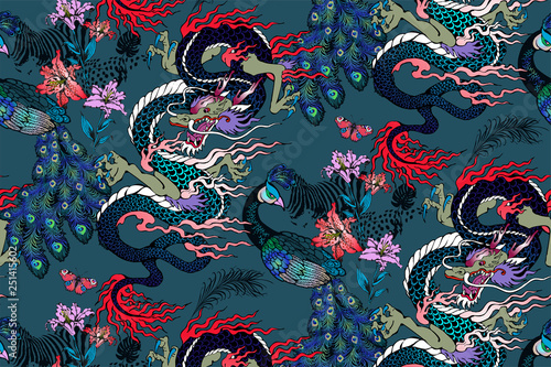 Pattern of peacock and asian dragon Fototapeta