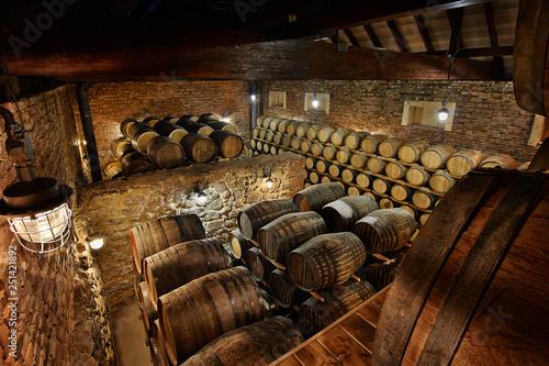 Fotografía Rows of alcoholic drums in stock