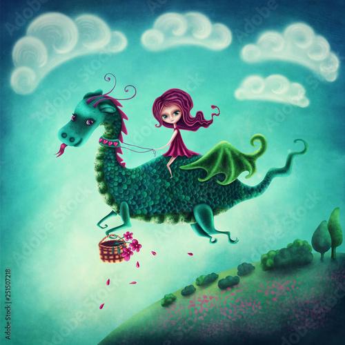 Stampa su Tela Flying dragon and a girl