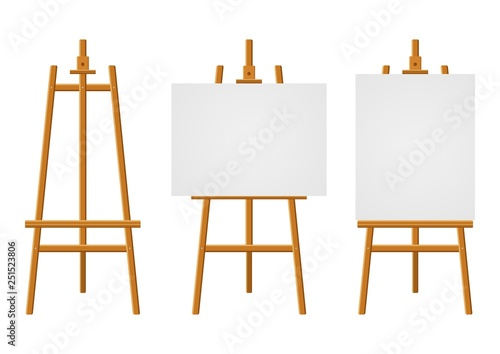 Canvas Print Wood easels or painting art boards with white canvas of different sizes