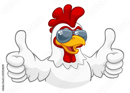 Photo A chicken rooster cockerel bird cartoon character in cool shades or sunglasses g