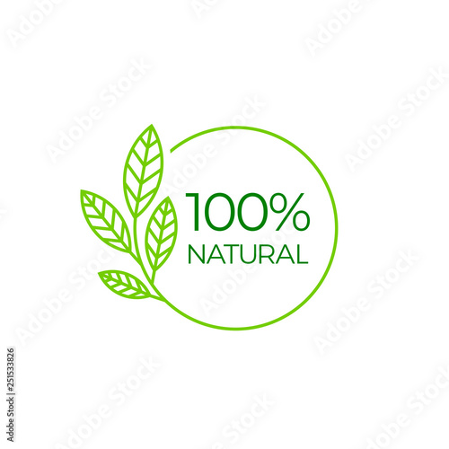 100% natural, round label green stamp. Natural product symbol, vector illustration isolated on white background