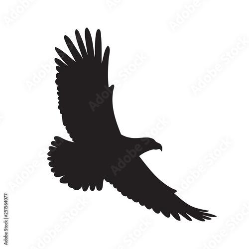 Black eagle silhouette on a white background. Vector illustration Fototapet