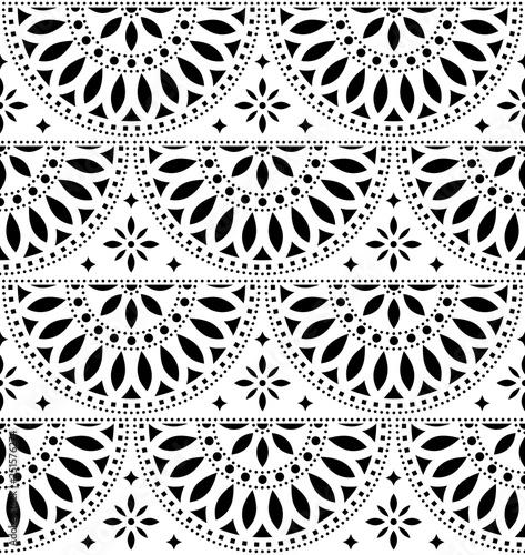 Fototapeta Mexican folk art vector seamless geometric pattern with flowers, black and white