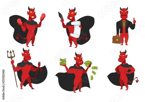 Obraz na płótnie Demon hell devil in black cloak with red skin and trident