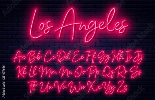 Canvas Print Glowing neon script alphabet
