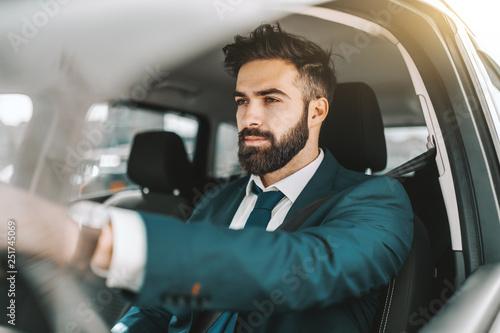 Obraz na płótnie Portrait of caucasian bearded businessman in formal wear driving car