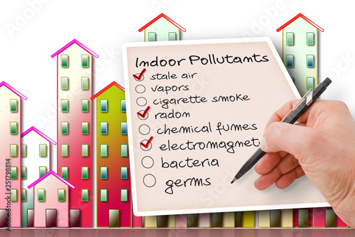 Fényképezés Hand write a check list of indoor air pollutants against a buildings background