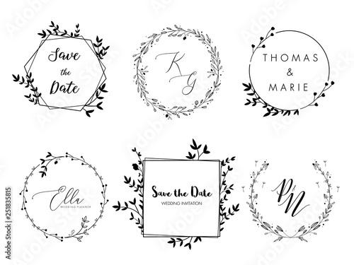 Obraz na plátne Wedding invitation floral wreath minimal design