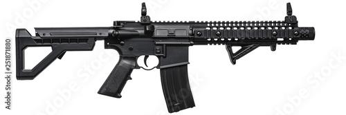 Fototapeta Modern black air rifle isolated on white back