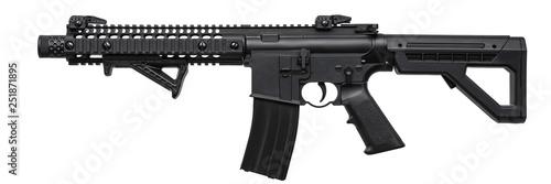 Valokuvatapetti Modern black air rifle isolated on white back
