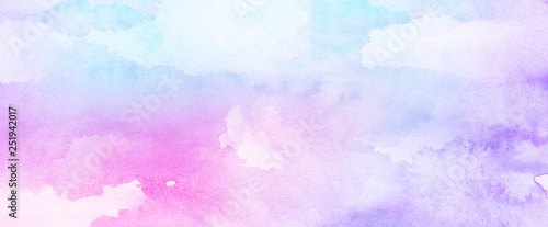 Fotografie, Obraz Fantasy smooth light pink, purple shades and blue watercolor paper textured illustration for grunge design, vintage card, templates