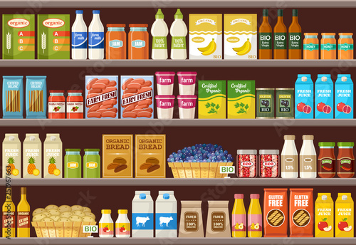 Canvas Print Shop of organic products. Supermarket