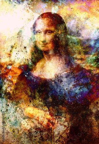 Wallpaper Mural Reproduction of painting Mona Lisa by Leonardo da Vinci and graphic effect