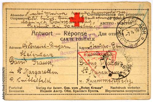 Canvas Print Postcard of prisoner of war