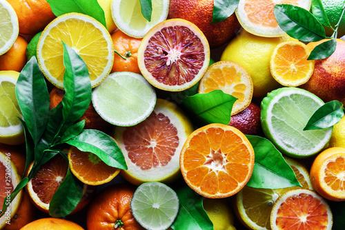 Fotografie, Obraz Mix of different citrus fruits closeup