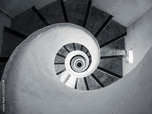 Vászonkép Spiral Staircase step wooden handrail Architecture details Indoor Building persp
