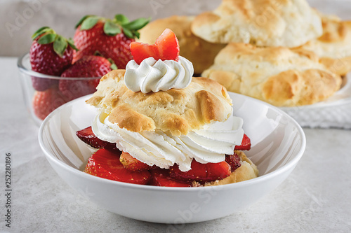 Fototapeta Strawberry shortcake in shallow white bowl with whipped cream and garnished with a sliced strawberry