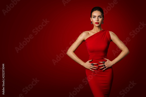 Stampa su Tela Woman Red Dress, Fashion Model Elegant Gown, Young Girl Beauty Portrait over Red
