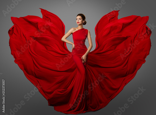 Fotografering Woman Red Dress, Fashion Model in Long Silk Waving Gown Wings, Flying Fluttering