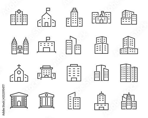 set of buiding icons, such as city, apartment, condominium, town Fototapete
