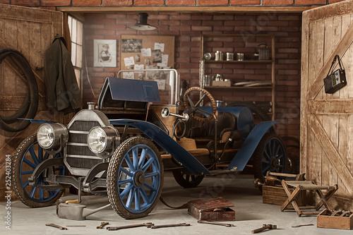 Retro car in the garage for repairs Fototapet