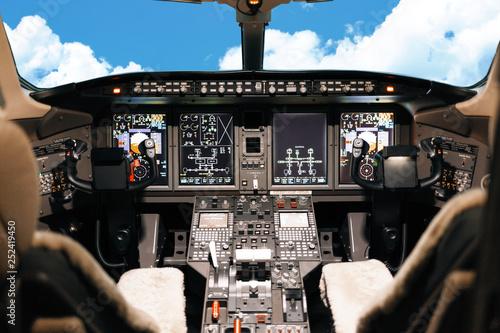 Tablou Canvas Aircraft interior and pilot cockpit