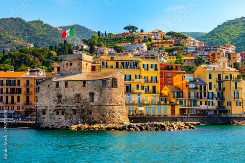 Obraz na plátně italian castle by the sea Castello di Rapallo in the italian riviera Portofino a