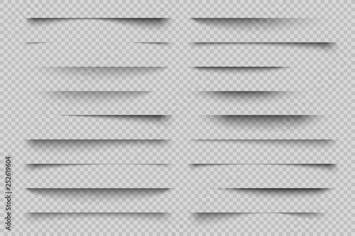 Wall mural Paper shadow effect. Transparent page divider realistic shadows, website panel tabs, banner vector shadow templates