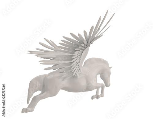 Fotografia Pegasus majestic mythical greek winged horse isolated on white background