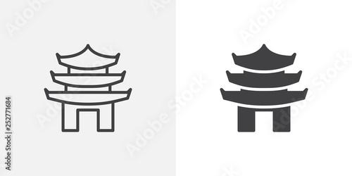 Asian pagoda icon Fotobehang