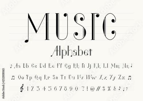 vector of music note font and alphabet Fototapeta