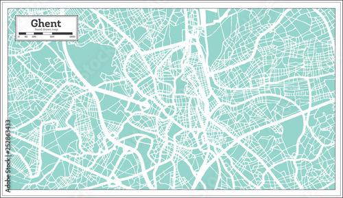 Obraz na plátně Ghent City Map in Retro Style. Outline Map.