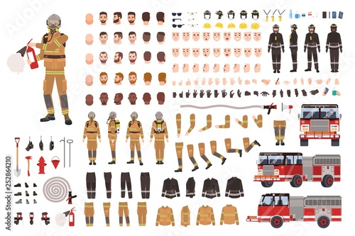 Canvas Print Firefighter creation set or DIY kit