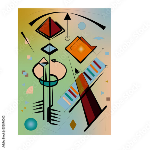 Abstract  light bluebackground ,fancy  geometric and curved shapes , expressionism art style