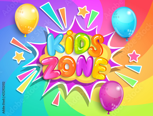 Tableau sur Toile Kids zone banner with balloons on rainbow spiral background in cartoon style