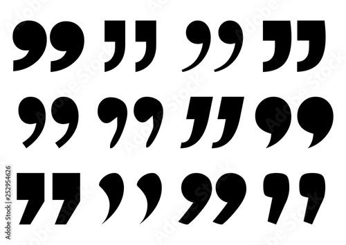 Fototapeta Set of quote mark, black sign isolated on white background