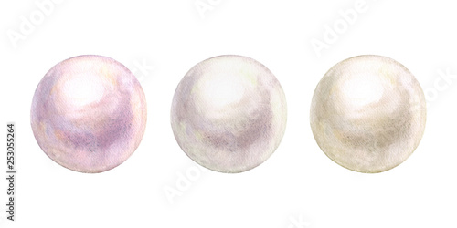 Pearl set watercolor shiny natural sea nacreous isolated on white background Fototapeta