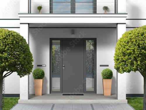house facade with entrance portal, balcony, pillars and front door - 3D renderin Poster Mural XXL