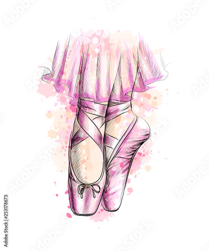 Leinwand Poster Legs of ballerina in ballet shoes from a splash of watercolor