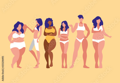 women of different sizes and races modeling underwear Fotobehang