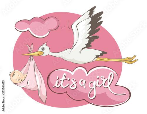Fotografia It's a girl -- card. Vector illustration, Stork bears baby.