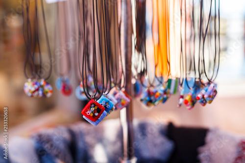 glass pendants in sale as souvenirs for tourist in Murano island, venice Fototapeta