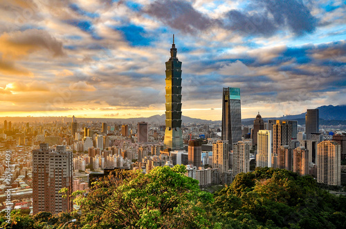 Fototapeta premium Tajpej, Tajwan Skyline 101