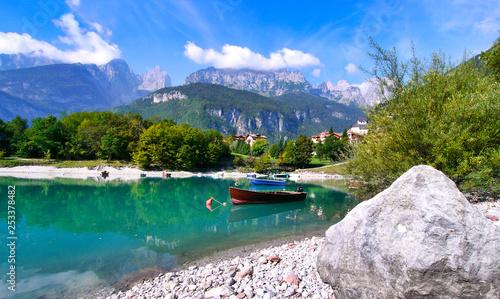 Cuadros en Lienzo Lake Molveno, a wonderful lake, in western Trentino Alto Adige, Italy, at the foot of the Brenta Dolomites
