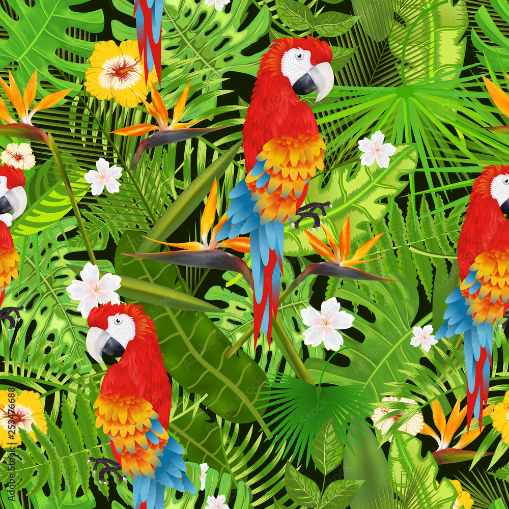 Seamless pattern with exotic tropical leaves, flowers and parrot illustration