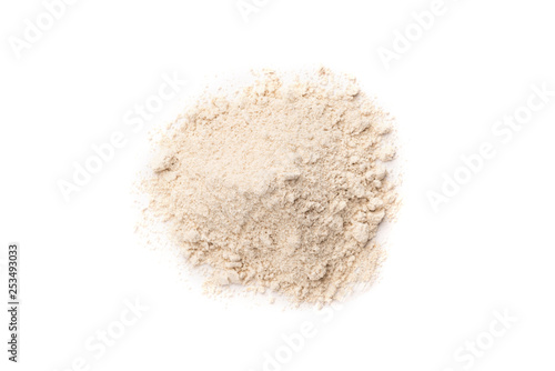 Canvas Print Oat flour isolated on white background.