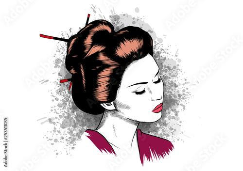 Valokuva face of a geisha drawn like a comic